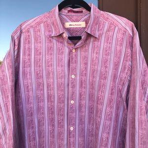 Tommy Bahama Mauve Striped Jacquard Shirt M